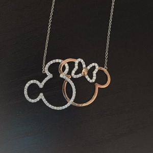 Sterling and rose gold Mickey/Minnie necklace
